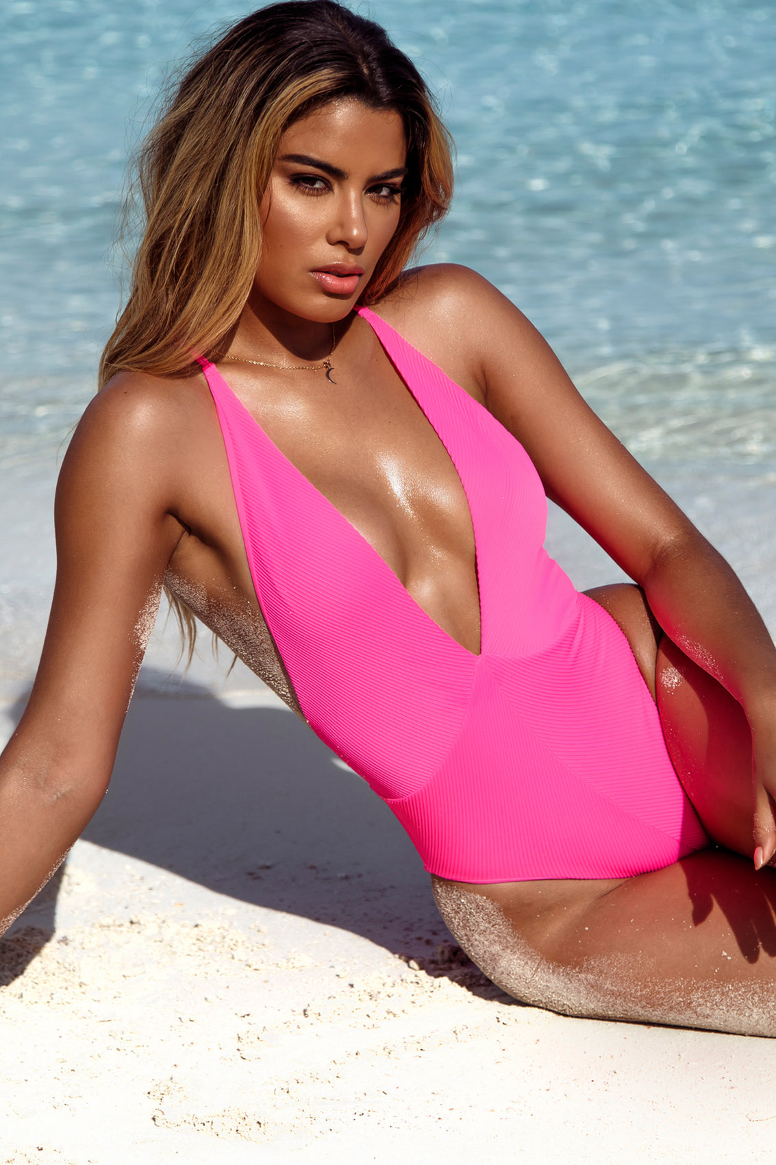 TRIANA - Deep V Crossed Back One Piece • Neon Pink Campaign