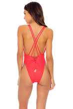 TRIANA - Deep V Crossed Back One Piece • Flamingo