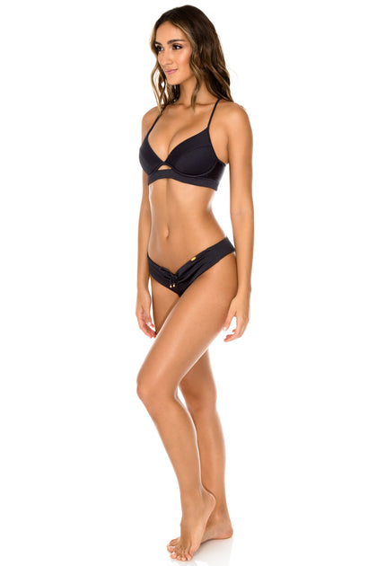 TRIANA - Underwire Top & Drawstring Ruched Brazilian Bottom • Black