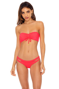 TRIANA - Bandeau Top & Reversible Zig Zag Open Side Moderate Bottom • Flamingo