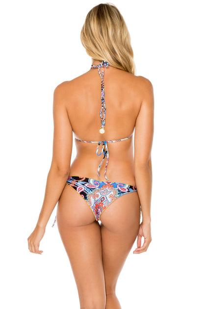 MAESTRANZA - Triangle Top & Wavey Ruched Back Brazilian Tie Side Bottom • Black