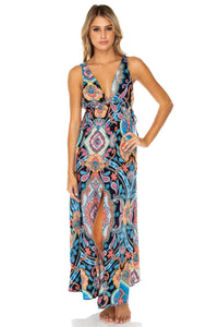 MAESTRANZA - V Neck Long Dress • Black