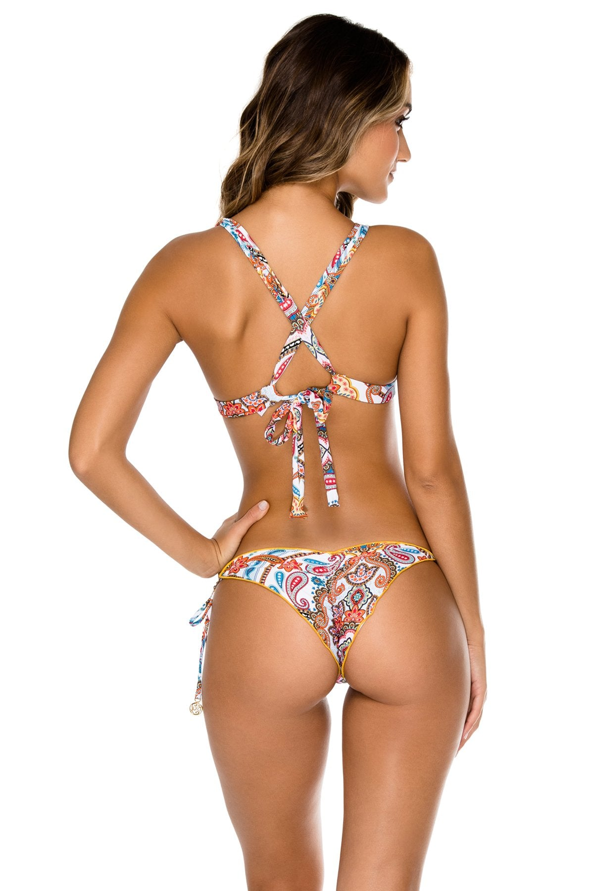 MAESTRANZA - Molded Push Up Bandeau Halter Top & Wavey Ruched Back Brazilian Tie Side Bottom • White