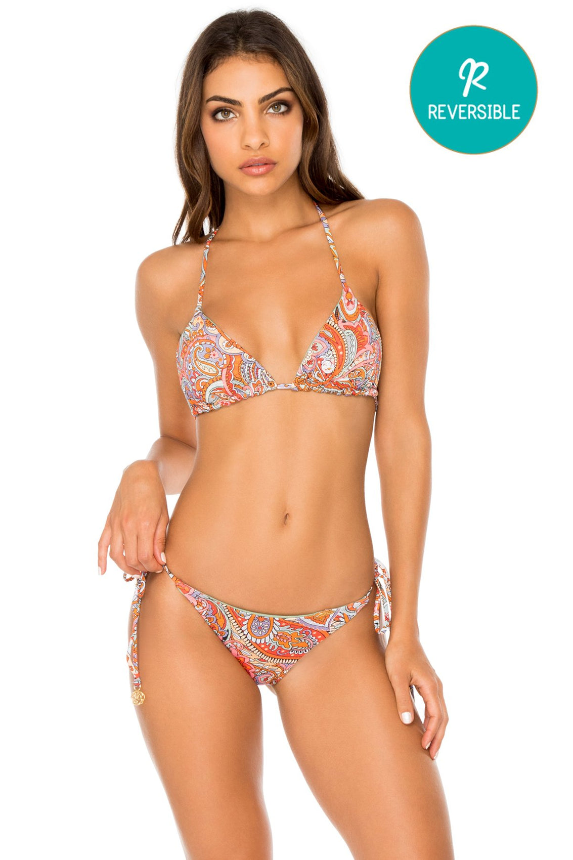 ANDALUZ - Triangle Top & Wavey Ruched Back Brazilian Tie Side Bottom • Multicolor