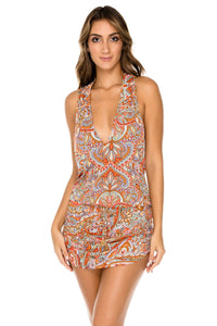 ANDALUZ - T Back Mini Dress • Multicolor