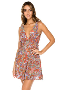 ANDALUZ - V Neck Short Dress • Multicolor