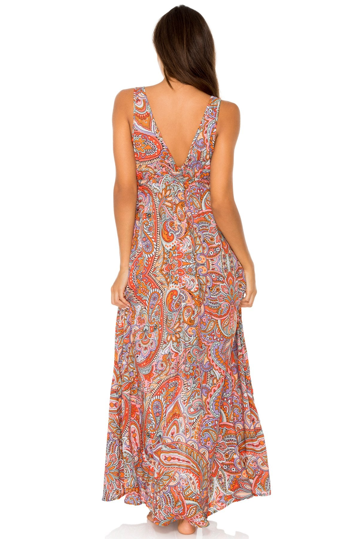 ANDALUZ - V Neck Long Dress • Multicolor