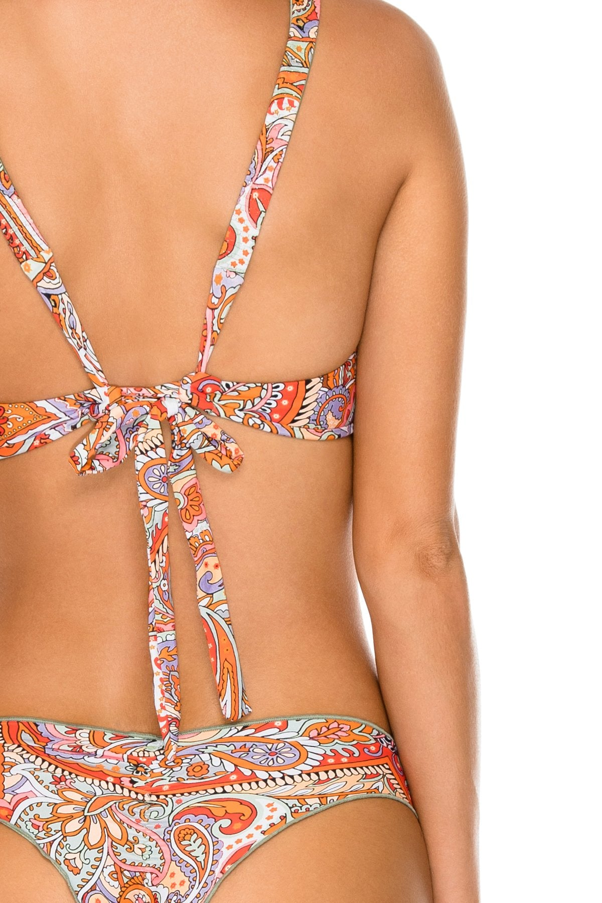 ANDALUZ - Halter Top & Wavey Ruched Back Brazilian Bottom • Multicolor