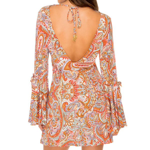 ANDALUZ - V Neck Bell Sleeve Short Dress