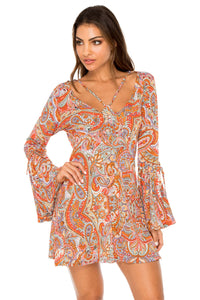 ANDALUZ - V Neck Bell Sleeve Short Dress • Multicolor