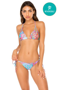 LA MEZQUITA - Zig Zag Knotted Cut Out Triangle Top & Wavey Ruched Back Brazilian Tie Side Bottom • Multicolor