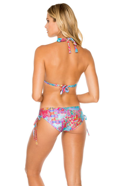 LA MEZQUITA - Triangle Halter Top & Drawstring Side Full Bottom • Multicolor