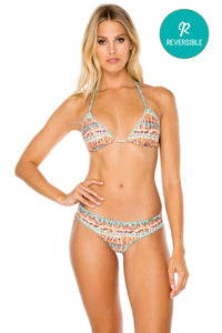 ALMERIA - Triangle Top & Wavey Ruched Back Brazilian Bottom • Multicolor