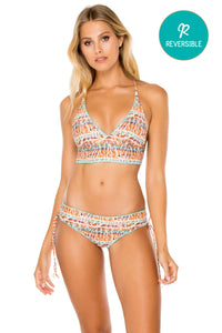 ALMERIA - Cross Back Bustier Top & Drawstring Side Full Bottom • Multicolor