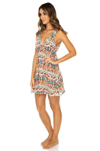 ALMERIA - V Neck Short Dress • Multicolor