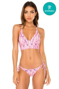 CADIZ - Cross Back Bustier Top & Wavey Ruched Back Brazilian Tie Side Bottom • Multicolor