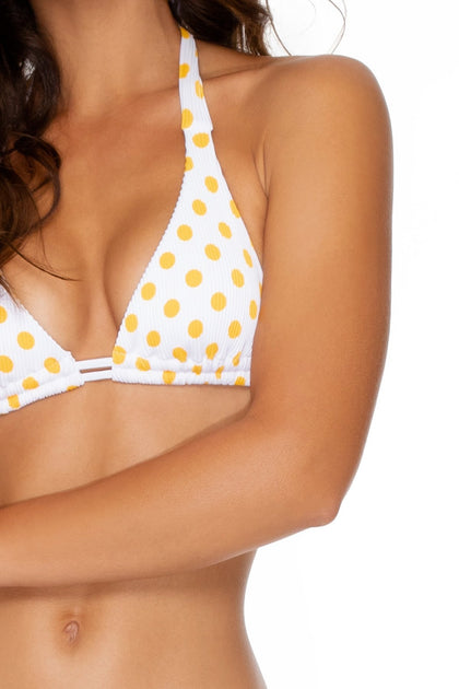ITSY BITSY - Triangle Halter Top & Full Bottom • Yellow