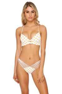 ITSY BITSY - Underwire Top & Strappy Brazilian Ruched Back Bottom • Yellow (1636923080806)