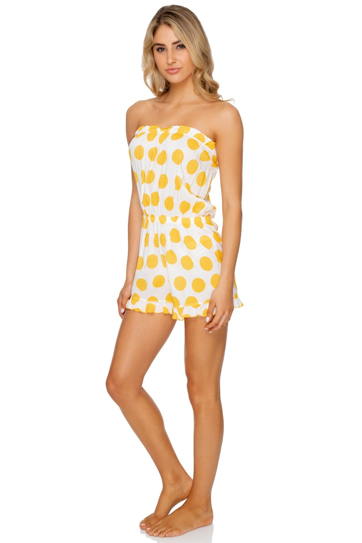 ITSY BITSY - Strapless Ruffle Romper • Yellow (1636922851430)