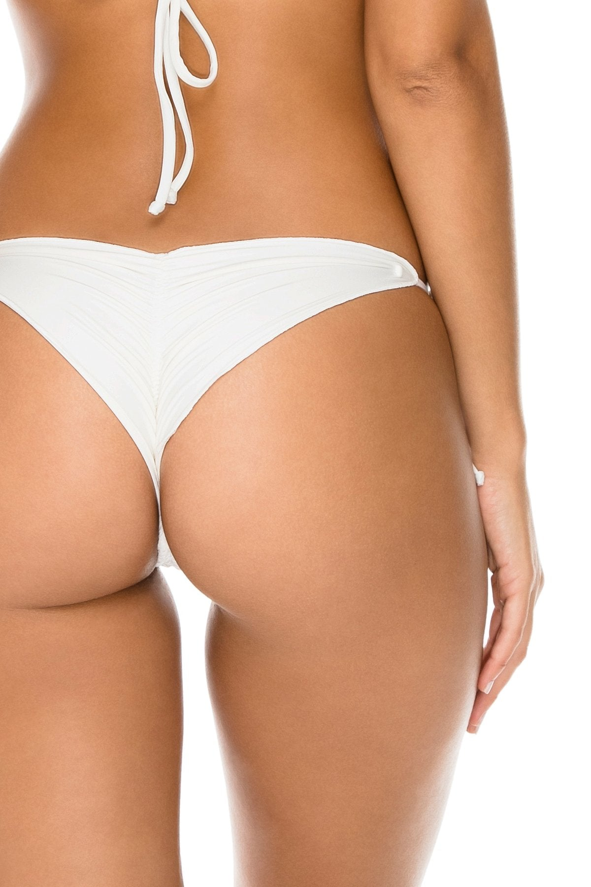 BULERIA - Triangle Top & Wavey Ruched Back Brazilian Tie Side Bottom • Ivory