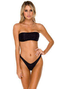 BULERIA - Free Form Bandeau & High Leg Brazilian Bottom • Black