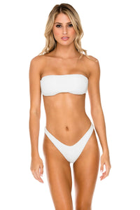BULERIA - Free Form Bandeau & High Leg Brazilian Bottom • Ivory