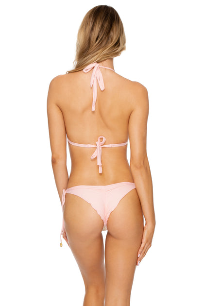 GITANA - Triangle Halter Top & Wavey Ruched Back Brazilian Tie Side Bottom • Multicolor