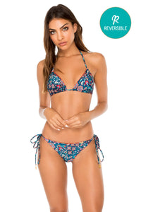 CORDOBA - Triangle Top & Wavey Ruched Back Brazilian Tie Side Bottom • Multicolor