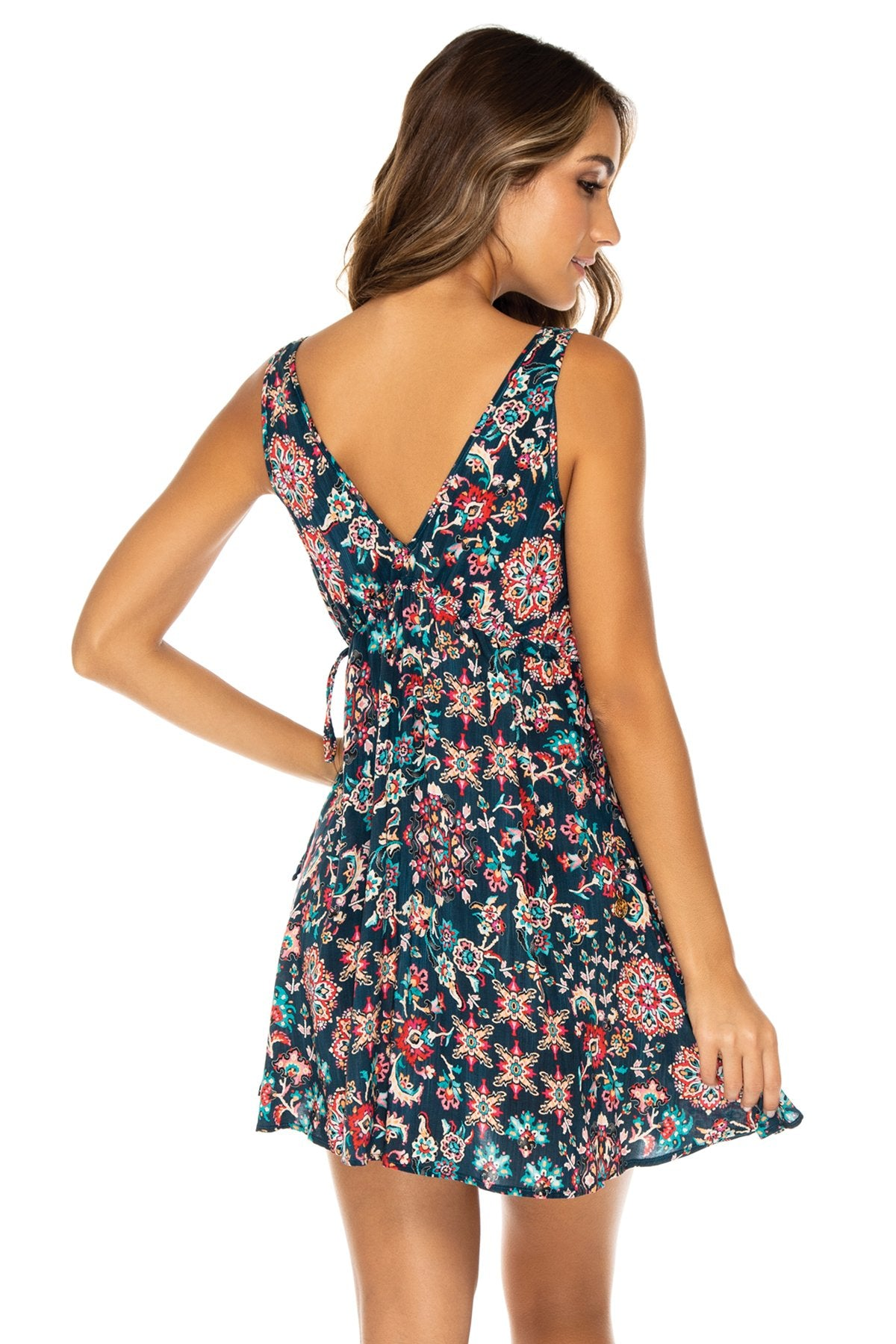 CORDOBA - V Neck Short Dress • Multicolor