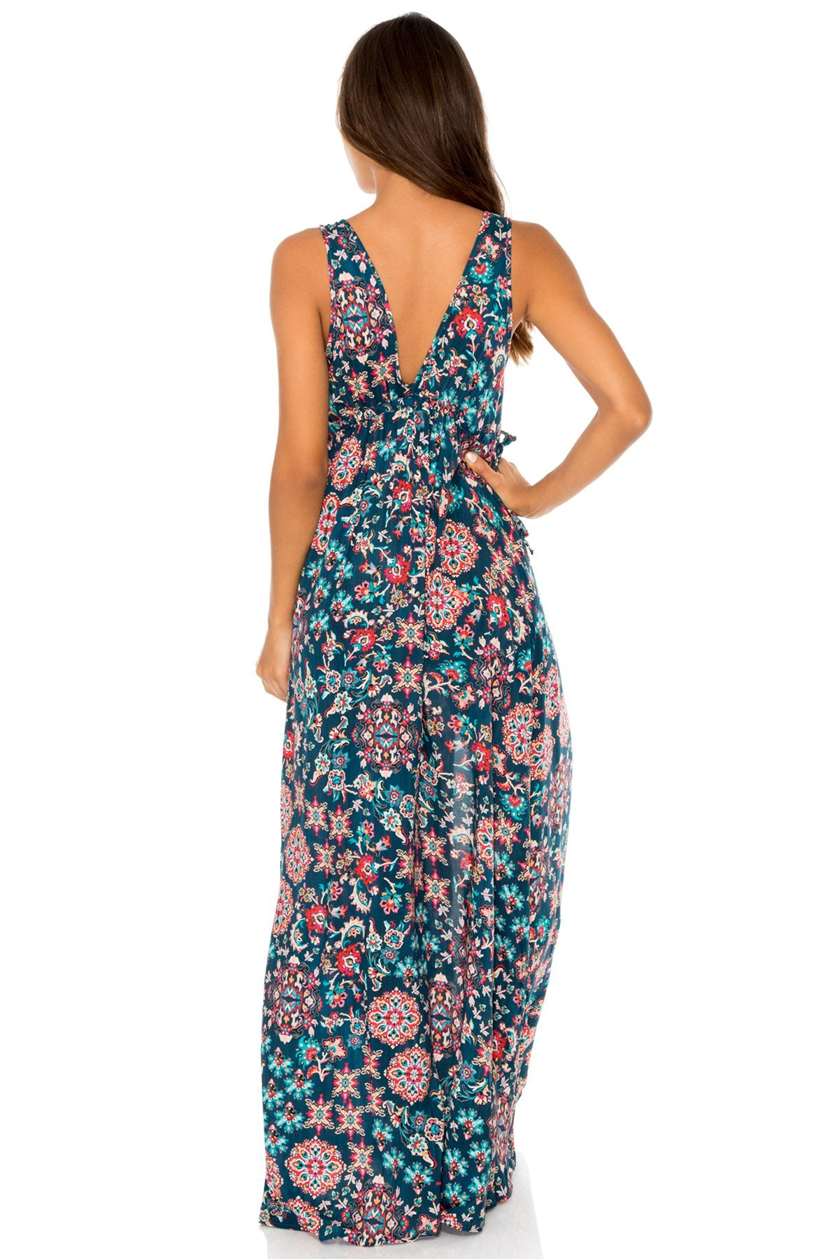 CORDOBA - V Neck Long Dress • Multicolor