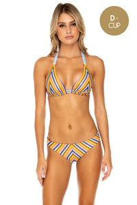 PLAZA ESPAÑA - Triangle Halter Top & Full Bottom • Multicolor