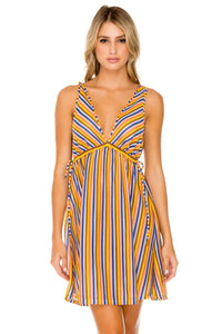 PLAZA ESPAÑA - V Neck Short Dress • Multicolor