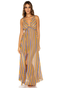 PLAZA ESPAÑA - V Neck Long Dress • Multicolor