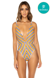 PLAZA ESPAÑA - Deep V Crossed Back One Piece • Multicolor