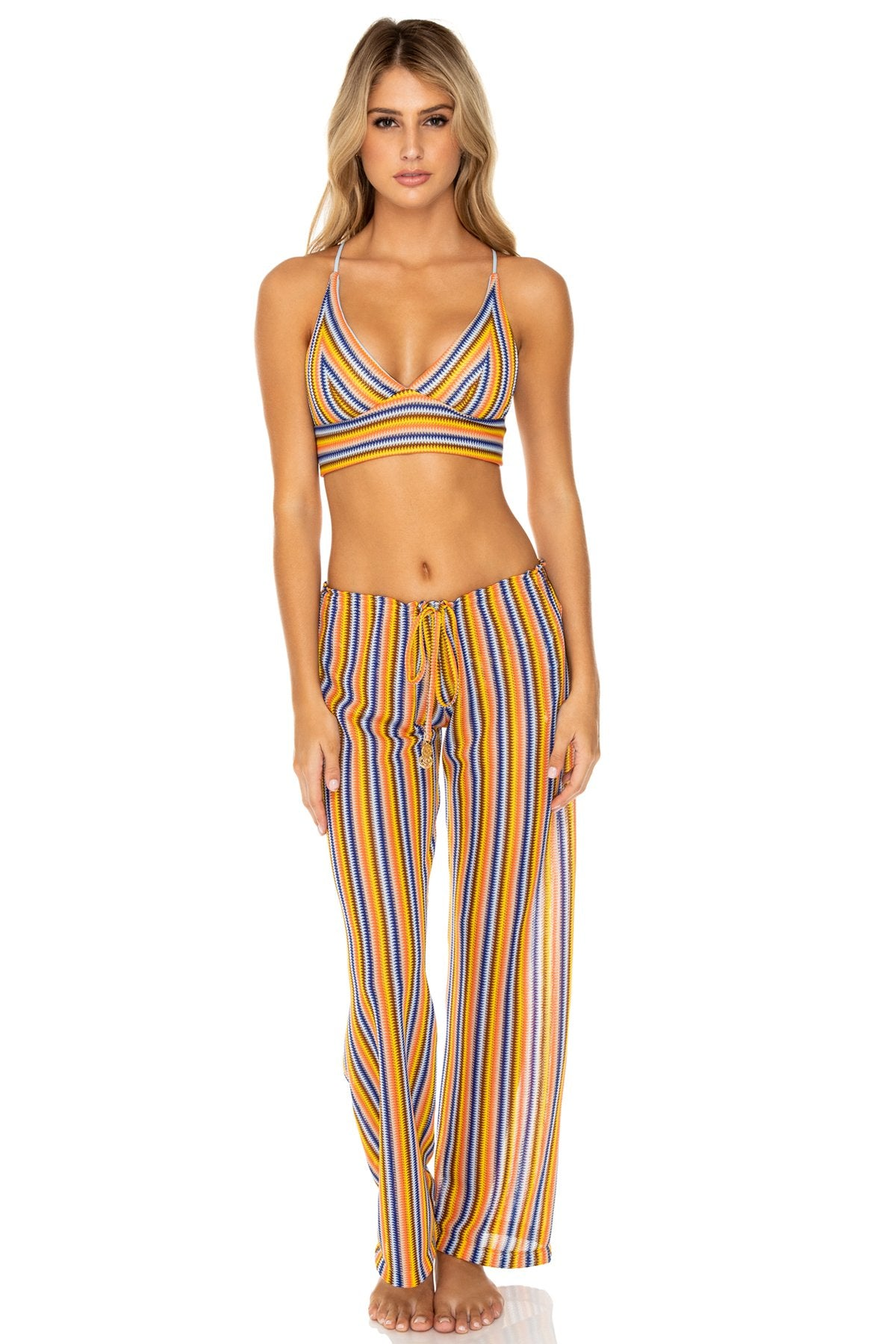 PLAZA ESPAÑA - Halter Cross Back Bustier Top & Beach Pant • Multicolor