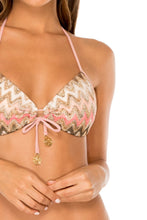 PONDEROSA - Molded Push Up Bandeau Halter Top & Wavey Ruched Back Brazilian Tie Side Bottom • Multicolor