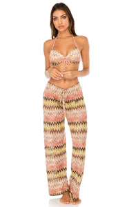 PONDEROSA - Molded Push Up Bandeau Halter Top & Beach Pant • Multicolor