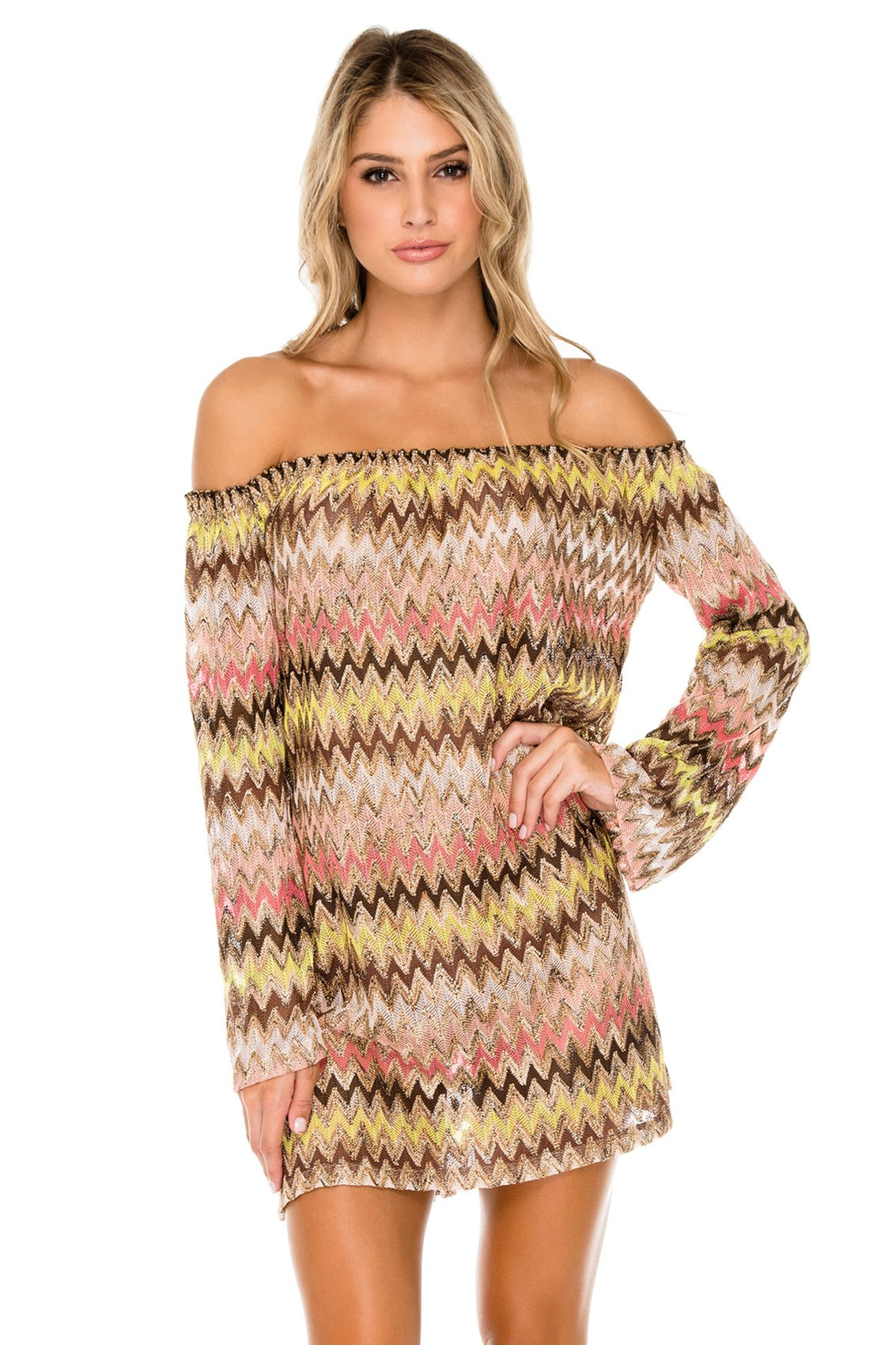 PONDEROSA - Cuff Bell Sleeve Dress • Multicolor