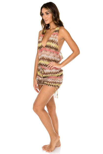 PONDEROSA - T Back Mini Dress • Multicolor