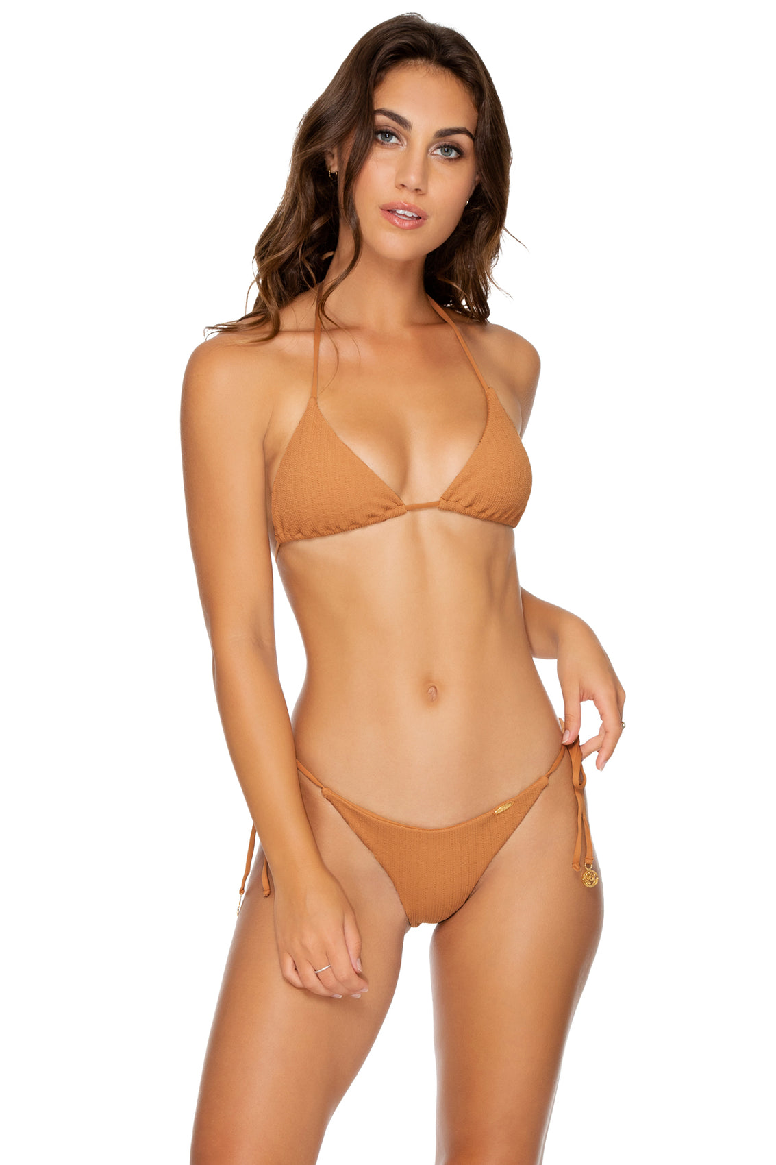 JAGGED BOMBSHELL - Triangle Top & Wavy Ruched Back Brazilian Tie Side Bottom • Caramelo