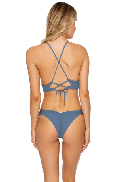JAGGED BOMBSHELL - Cross Back Bustier Top & Strappy Brazilian Ruched Back Bottom • Olas