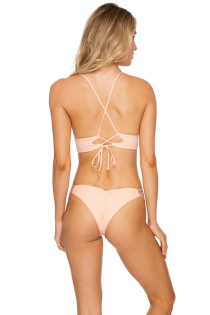 JAGGED BOMBSHELL - Cross Back Bustier Top & Strappy Brazilian Ruched Back Bottom • Peachin