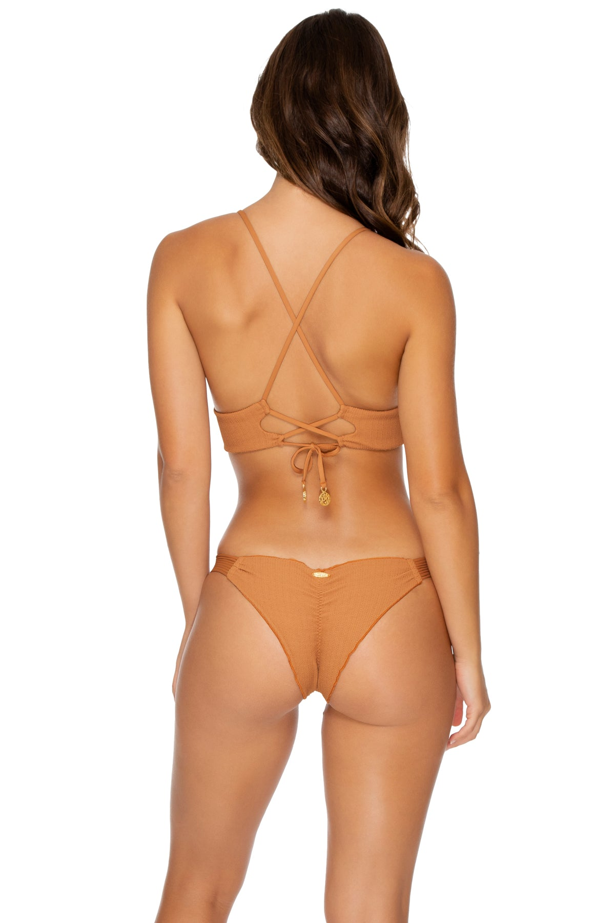 JAGGED BOMBSHELL - Halter Cross Back Bustier Top & Strappy Brazilian Ruched Back Bottom • Caramelo