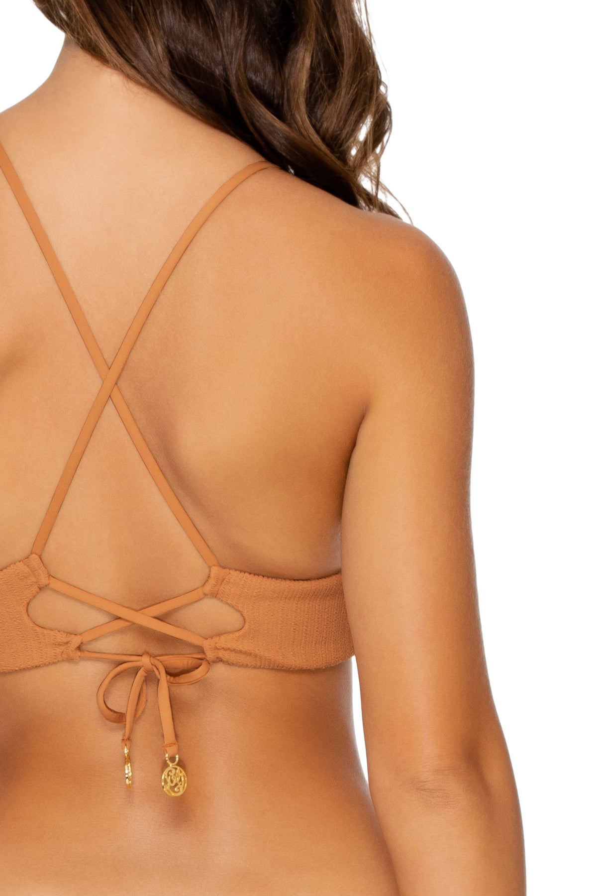 JAGGED BOMBSHELL - Cross Back Bustier Top & Strappy Brazilian Ruched Back Bottom • Caramelo