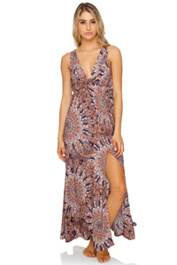 LA REINA DEL SUR - V Neck Long Dress • Multicolor