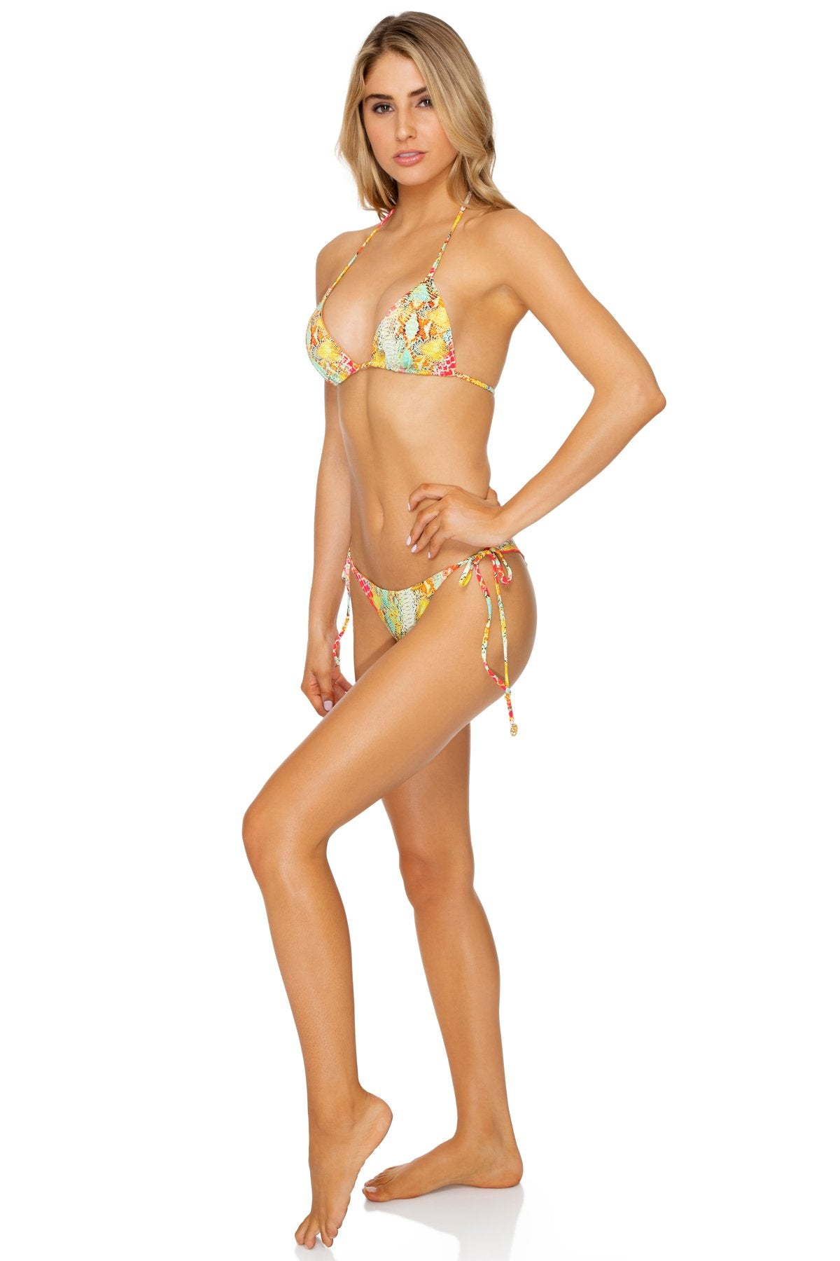 SMOKE SHOW - Triangle Top & Wavey Ruched Back Brazilian Tie Side Bottom • Multicolor
