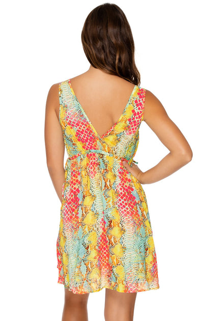 SMOKE SHOW - V Neck Short Dress • Multicolor