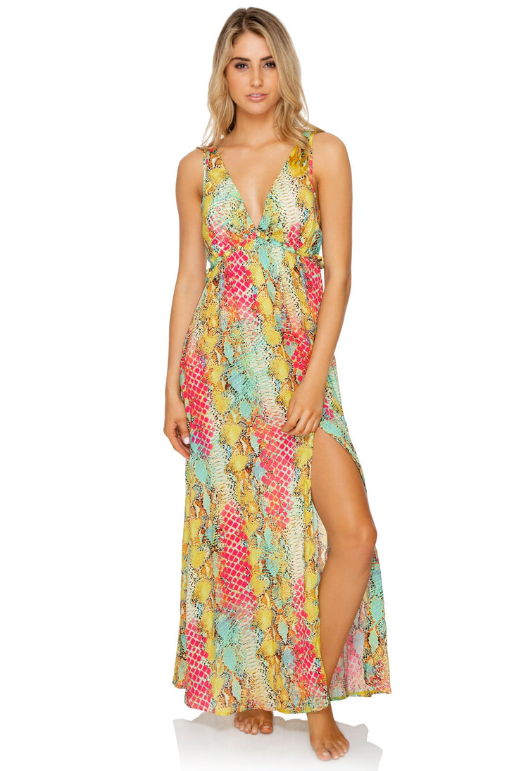 SMOKE SHOW - V Neck Long Dress • Multicolor