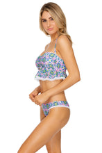 ANGEL FACE - Lace Trim Bandeau Crop Top & Lo Rise Seamless Skimpy Bottom • Multicolor