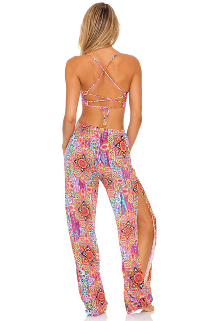 RAYANDO EL SOL - Underwire Top & Split Side Wide Leg Pant • Multicolor